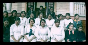 Senior girls and some younger students, Elizabeth Long Memorial Home, Kitamaat
