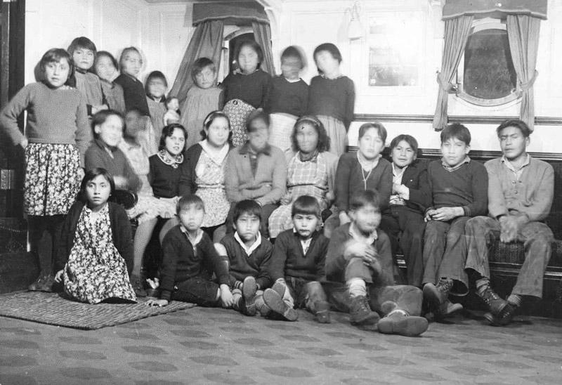 Boys and girls inside, Alberni Indian Residential School