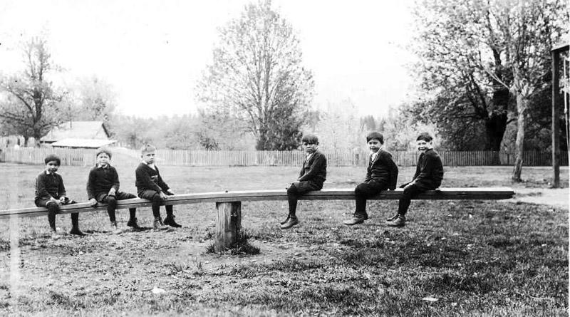 Boys in playground, Alberni Indian Residential School