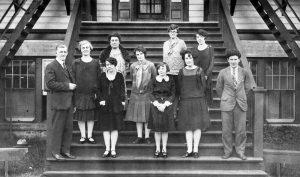Staff of Alberni Residential School on steps.