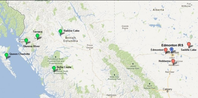 Location of Edmonton IRS and the local agencies from which the students were first drawn.