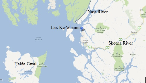 Map of location in northern British Columbia of Lax Kw'alaams (Port Simpson).