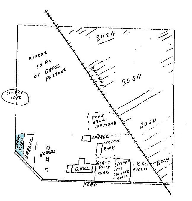 Diagram showing the school grounds and location of the graveyard.
