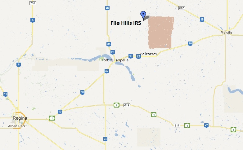 Map of the approximate location of File Hills IRS.